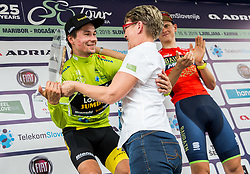 Winner Primoz Roglic of Team Lotto NL Jumbo celebrates  in green jersey as best in Overall classification with Sonja Gole and Matej Mohoric of Bahrain Merida during trophy ceremony after the 5th Time Trial Stage of 25th Tour de Slovenie 2018 cycling race between Trebnje and Novo mesto (25,5 km), on June 17, 2018 in  Slovenia. Photo by Vid Ponikvar / Sportida