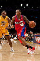 15 January 2010: Forward Rasual Butler of the Los Angeles Clippers drives to the basket while being guarded by Ron Artest of the Los Angeles Lakers during the first half of the Lakers 126-86 victory over the Clippers at the STAPLES Center in Los Angeles, CA.
