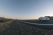 Sebastiaan Bowier in de VeloX2 tijdens zijn laatste race op de zesde racedag van de WHPSC. In de buurt van Battle Mountain, Nevada, strijden van 10 tot en met 15 september 2012 verschillende teams om het wereldrecord fietsen tijdens de World Human Powered Speed Challenge. Het huidige record is 133 km/h.<br /> <br /> Sebastiaan Bowier in the VeloX2 on the last day of the WHPSC. Near Battle Mountain, Nevada, several teams are trying to set a new world record cycling at the World Human Powered Vehicle Speed Challenge from Sept. 10th till Sept. 15th. The current record is 133 km/h.
