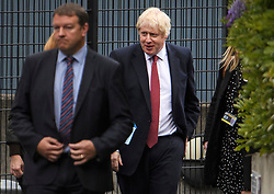 © Licensed to London News Pictures. 10/09/2019. London, UK. British Prime Minister BORIS JOHNSON is seen during a visit to a school in Pimlico, west London.  . PM Johnson Last night prorogued Parliament in the run up to Britain's planned Brexit deadline of October 31st. Photo credit: Ben Cawthra/LNP