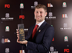 CARDIFF, WALES - Thursday, March 21, 2019: Wales' Ben Davies with the Media Choice award during the Football Association of Wales Awards 2019 at the Hensol Castle. (Pic by David Rawcliffe/Propaganda)