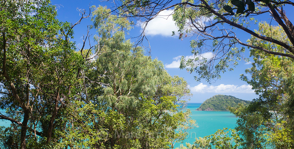 View of Cape Tribulation with stunning turquoise blue sea and tropical vegetation, Queensland, Australia