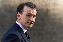 Downing Street, London, March 31st 2016. Welsh Secretary Alun Cairns leaves Downing Street following an emergency meeting of senior government officials to discuss strategies aimed at saving the British steel industry following Tata Steel's decision to close the loss-making Port Talbot steel plant at Downing Street, London. &copy;Paul Davey<br /> FOR LICENCING CONTACT: Paul Davey +44 (0) 7966 016 296 paul@pauldaveycreative.co.uk