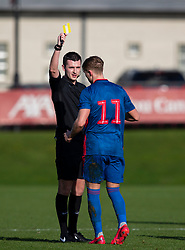 LIVERPOOL, ENGLAND - Monday, February 24, 2020: Sunderland's Cieran Dunn is shown a yellow card during the Premier League Cup Group F match between Liverpool FC Under-23's and AFC Sunderland Under-23's at the Liverpool Academy. (Pic by David Rawcliffe/Propaganda)