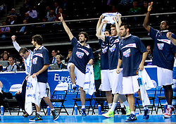 Players of Spain celebrate during basketball game between National basketball teams of Spain and Slovenia at Quarterfinals of FIBA Europe Eurobasket Lithuania 2011, on September 14, 2011, in Arena Zalgirio, Kaunas, Lithuania. Spain defeated Slovenia 86-64. (Photo by Vid Ponikvar / Sportida)