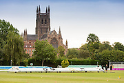 Overcast day before the start of the final day Bob Willis Trophy match between Lancashire County Cricket Club and Leicestershire County Cricket Club at Blackfinch New Road, Worcester, United Kingdom on 4 August 2020.