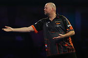 Raymond van Barneveld getting frustrated during the World Championship Darts 2018 at Alexandra Palace, London, United Kingdom on 17 December 2018.