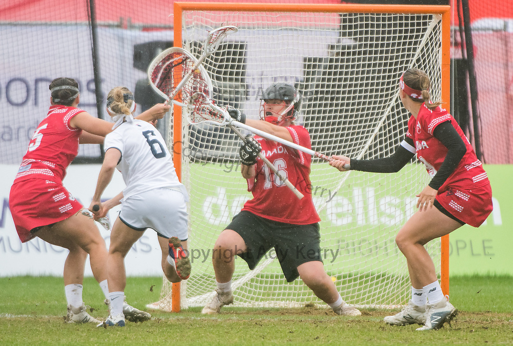 USA's Laura Zimmerman lashes the ball past Katie Donohoe to score at the 2017 FIL Rathbones Women's Lacrosse World Cup at Surrey Sports Park, Guilford, Surrey, UK, 15th July 2017