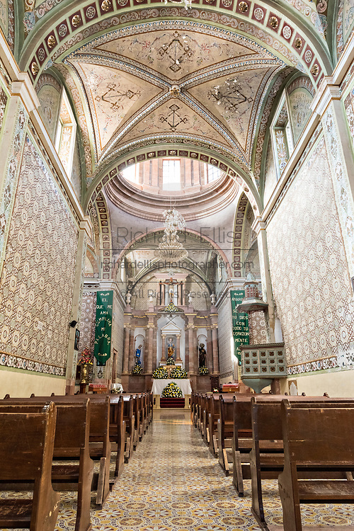 Interior of the Parroquia de San Pedro Apóstol church or Saint Paul the Apostle provincial church in Mineral de Pozos, Guanajuato, Mexico.