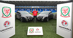 CARDIFF, WALES - Wednesday, January 12, 2011: Wales' manager Gary Speed photographed next to Vauxhall cars during the announcement that British car manufacturer Vauxhall is to become the official leading sponsorship partner to the Wales international football teams, at Cardiff City Stadium. (Pic by: David Rawcliffe/Propaganda)
