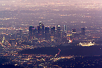 View of Downtown Los Angeles Skyline and Dodger Stadium at Night from Mount Wilson Observatory, Angeles National Forest, California