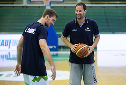 Zoran Dragic of Slovenia and Sasa Zagorac prior to the friendly basketball match between National teams of Slovenia and Australia, on August 3, 2015 in Arena Tri lilije, Lasko, Slovenia. Photo by Vid Ponikvar / Sportida