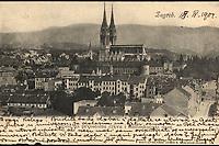 Pogled na prvostolnu crkvu i nadbiskupski dvor.  <br /> <br /> ImpresumZagreb : Naklada A. Brusina, [1904].<br /> Materijalni opis1 razglednica : tisak ; 8,8 x 13,9 cm.<br /> Korporativni suradnikSvjetlotiskarski zavod R. Mosinger<br /> NakladnikTiskara A. Brusina<br /> Mjesto izdavanjaZagreb<br /> Vrstavizualna građa • razglednice<br /> ZbirkaGrafička zbirka NSK • Zbirka razglednica<br /> Formatimage/jpeg<br /> PredmetZagreb –– Kaptol<br /> Katedrala Uznesenja Marijina (Zagreb)<br /> SignaturaRZG-KAP-13<br /> Obuhvat(vremenski)20. stoljeće<br /> NapomenaRazglednica je putovala 1904. godine.<br /> PravaJavno dobro<br /> Identifikatori000955307<br /> NBN.HRNBN: urn:nbn:hr:238:465034 <br /> <br /> Izvor: Digitalne zbirke Nacionalne i sveučilišne knjižnice u Zagrebu