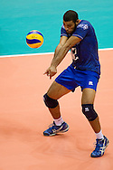 Earvin Ngapeth from France receives the ball during the 2013 CEV VELUX Volleyball European Championship match between France and Turkey at Ergo Arena in Gdansk on September 22, 2013.<br /> <br /> Poland, Gdansk, September 22, 2013<br /> <br /> Picture also available in RAW (NEF) or TIFF format on special request.<br /> <br /> For editorial use only. Any commercial or promotional use requires permission.<br /> <br /> Mandatory credit:<br /> Photo by © Adam Nurkiewicz / Mediasport