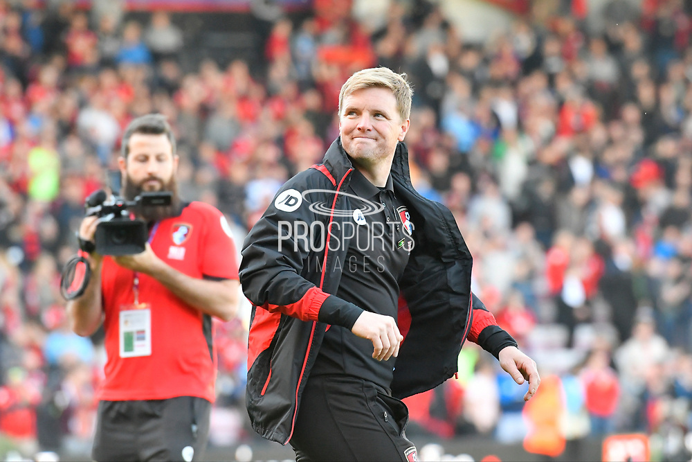 AFC Bournemouth manager Eddie Howe walks on to the pitch looking pleased at full time after the 4-0 win by Bournemouth during the Premier League match between Bournemouth and Middlesbrough at the Vitality Stadium, Bournemouth, England on 22 April 2017. Photo by Graham Hunt.