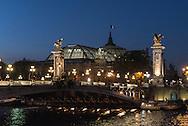 France. Paris Pont Alexandre-III bridge  ,, on Seine River