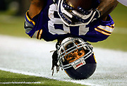 Minnesota Vikings' Sidney Rice lands on his head after a reception during a 2nd quarter touchdown drive during Minnesota's win against the Chicago Bears at the Hubert Humphrey Metrodome in Minneapolis, Minnesota on Sunday November 29, 2009.