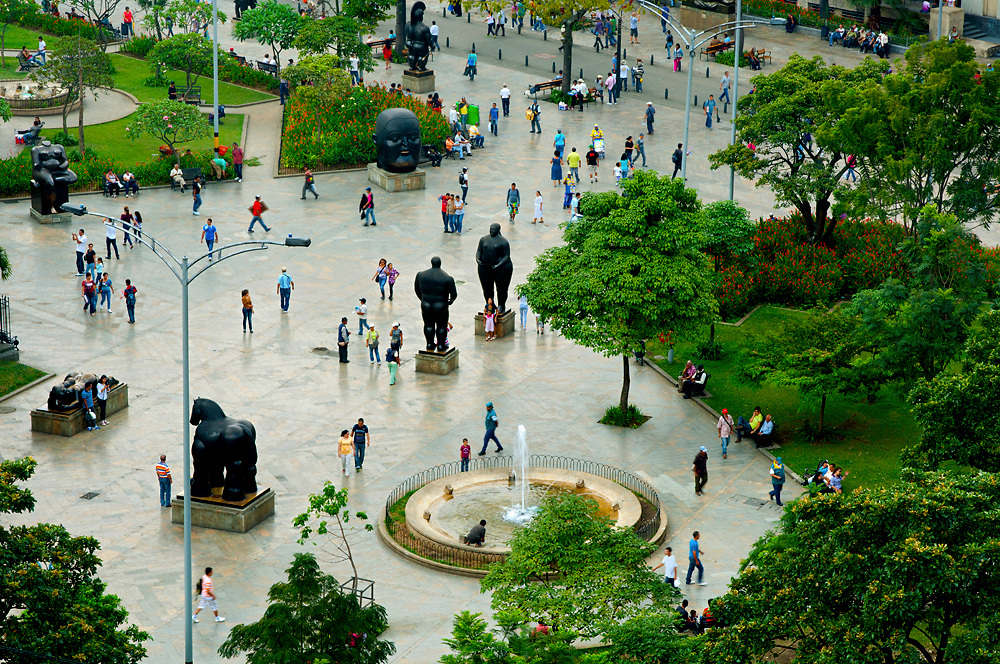 Plaza Botero is named after Medellin's native son, Fernando Botero, and Colombia's most famous artist.  Botero donated 23 of his overly-exaggerated sculptures to sit on the plaza.  The site has become popular with locals and tourists alike.
