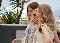 Actresses Sigrid Bouaziz, Kristen Stewart and Nora von Waldstatten at the Personal Shopper film photo call at the 69th Cannes Film Festival Tuesday 17th May 2016, Cannes, France. Photography: Doreen Kennedy