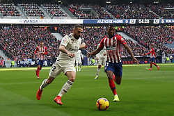 February 9, 2019 - Madrid, MADRID, SPAIN - Dani Carvajal of Real Madrid and Thomas Lemar of Atletico de Madrid during the spanish football championship La Liga played between Atletico de Madrid and Real Madrid at Wanda Metropolitano Stadium, Madrid, Spain. February 09th 2019. (Credit Image: © AFP7 via ZUMA Wire)