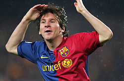 Lionel Messi of Barcelona celebrates scoring his second goal during the UEFA Champions League quarter final first leg match between FC Barcelona and FC Bayern Munich at the Camp Nou stadium on April 8, 2009 in Barcelona, Spain.