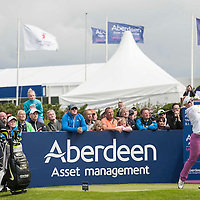 Picture by Christian Cooksey/CookseyPix.com . Standard repro rates apply. <br /> <br /> Aberdeen Asset Management Ladies Scottish Open at Dundonald Links, Irvine Ayrshire. <br /> <br /> Scotland's Kylie Walker (right) tees off at the 10th tee at the start of her first round.