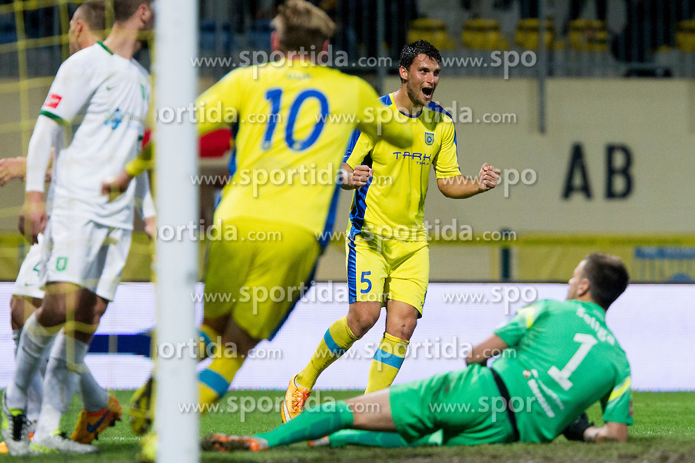 Darko Zec #5 of NK Domzale celebrates goal during football match between NK Domzale and NK Olimpija Ljubljana in 12th Round of Prva liga Telekom Slovenije 2015/16, on September 26, 2015 in Sports park Domzale, Slovenia. Photo by Urban Urbanc / Sportida