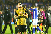 Sheffield Wednesday's Jacob Butterfield applauds the away fans during the EFL Sky Bet Championship match between Birmingham City and Sheffield Wednesday at St Andrews, Birmingham, England on 27 September 2017. Photo by John Potts.