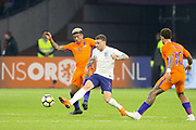 England defender Kieran Trippier battles with Netherlands Defender Patrick van Aanholt (Crystal Palace),  during the Friendly match between Netherlands and England at the Amsterdam Arena, Amsterdam, Netherlands on 23 March 2018. Picture by Phil Duncan.