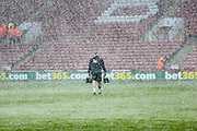 Nottingham Forest begin warm ups in a blizzard during the EFL Sky Bet Championship match between Sheffield United and Nottingham Forest at Bramall Lane, Sheffield, England on 17 March 2018. Picture by Mick Haynes.