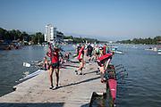 Plovdiv BULGARIA. 2017 FISA. Rowing World U23 Championships. <br /> Swiss Crews leaving the pontoon. Friday Boat Area. Boat Racks Pontoons.<br /> Friday Boat Area. Boat Racks Pontoons.<br /> <br /> 08:18:19  Friday  21.07.17   <br /> <br /> [Mandatory Credit. Peter SPURRIER/Intersport Images].