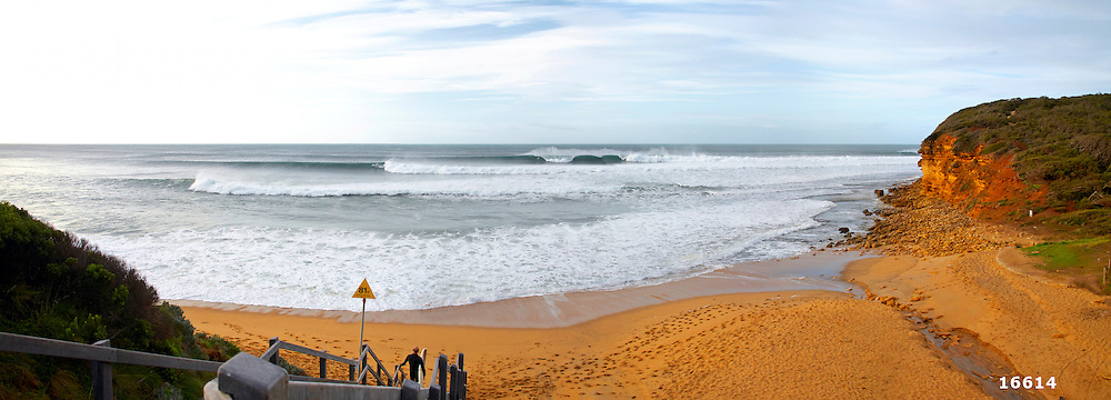 Bells Beach line-up in winter