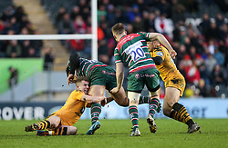 Billy Searle of Wasps makes a tackle - Mandatory by-line: Arron Gent/JMP - 15/02/2020 - RUGBY - Welford Road Stadium - Leicester, England - Leicester Tigers v Wasps - Gallagher Premiership Rugby