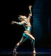 La Bayadere <br /> A ballet in three acts <br /> Choreography by Natalia Makarova <br /> After Marius Petipa <br /> The Royal Ballet <br /> At The Royal Opera House, Covent Garden, London, Great Britain <br /> General Rehearsal <br /> 30th October 2018 <br /> <br /> STRICT EMBARGO ON PICTURES UNTIL 2230HRS ON THURSDAY 1ST NOVEMBER 2018 <br /> <br /> <br /> Alexander Campbell - the Bronze idol <br /> <br /> Photograph by Elliott Franks Royal Ballet's Live Cinema Season - La Bayadere is being screened in cinemas around the world on Tuesday 13th November 2018 <br />