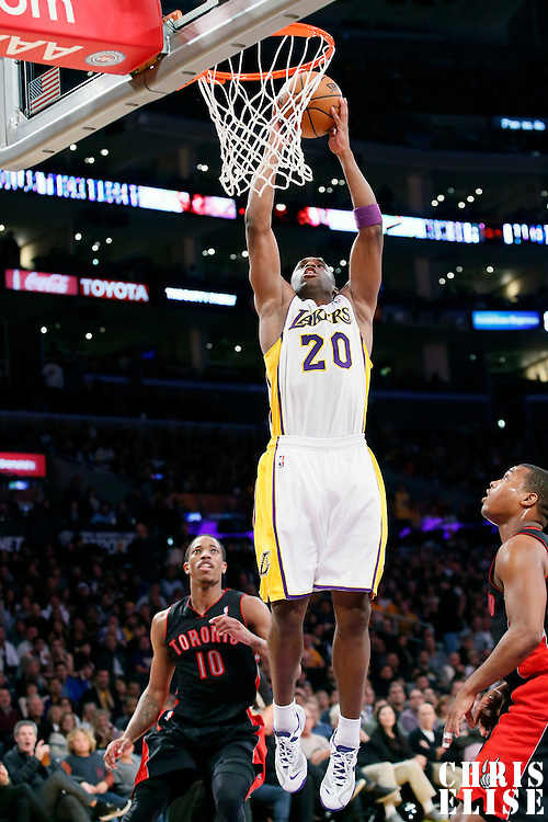 08 December 2013: Los Angeles Lakers shooting guard Jodie Meeks (20) goes for the dunk during the Toronto Raptors 106-94 victory over the Los Angeles Lakers at the Staples Center, Los Angeles, California, USA.