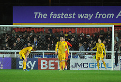 Disappointment for Bristol Rovers, Lee Mansell,Tom Lockyer and Tom Parkes - Mandatory byline: Neil Brookman/JMP - 28/11/2015 - FOOTBALL - ST James Park - Exeter, England - Exeter City v Bristol Rovers - Sky Bet League Two