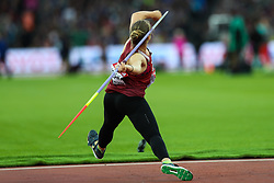 London, August 08 2017 . Sara Kolak, Croatia, in the women's javelin final on day five of the IAAF London 2017 world Championships at the London Stadium. © Paul Davey.