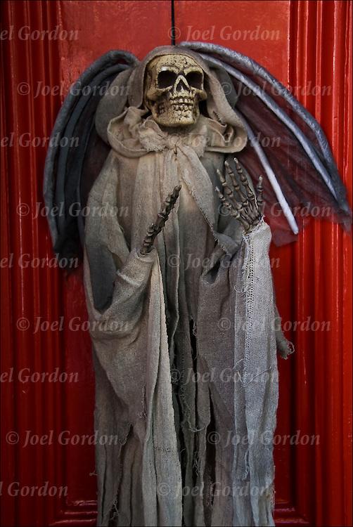 Plastic skeleton Halloween decoration on door in Greenwhich Village on 10/30/10