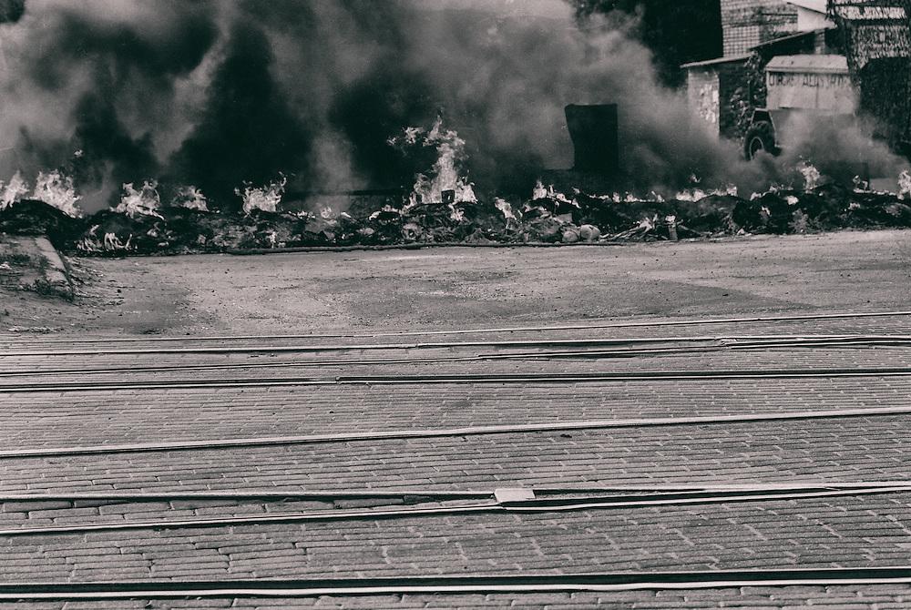 18 May 2014 - Ukraine - Slaviansk - Barricade on fire in between Slaviansk and Kramatorsk.