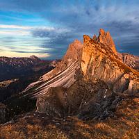 Seceda peak in Dolomite mountain