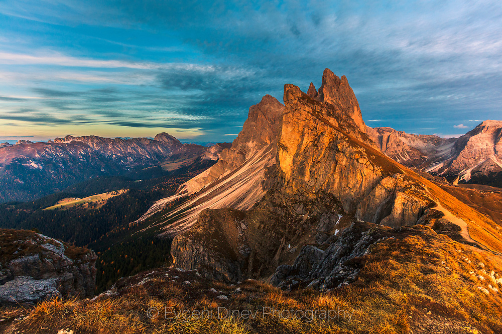 Seceda peak in Dolomite mountain
