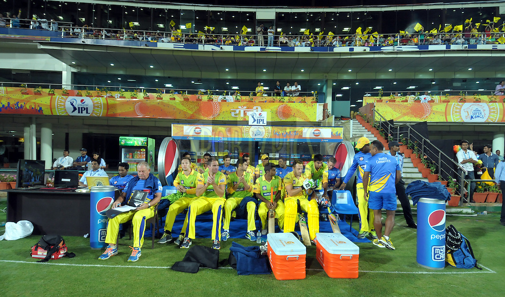 CSK team players in dugout during match 21 of the Pepsi Indian Premier League Season 2014 between the Chennai Superkings and the Kolkata Knight Riders  held at the JSCA International Cricket Stadium, Ranch, India on the 2nd May  2014<br /> <br /> Photo by Arjun Panwar / IPL / SPORTZPICS<br /> <br /> <br /> <br /> Image use subject to terms and conditions which can be found here:  http://sportzpics.photoshelter.com/gallery/Pepsi-IPL-Image-terms-and-conditions/G00004VW1IVJ.gB0/C0000TScjhBM6ikg