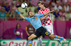 Jesus Navas of Spain vs Ivan Strinic of Croatia during the UEFA EURO 2012 group C match between  Croatia and Spain at PGE Arena Gdansk on June 18, 2012 in Gdansk / Danzig, Poland. (Photo by Vid Ponikvar / Sportida.com)
