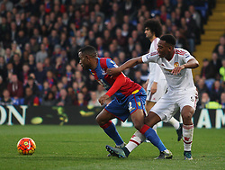 Jason Puncheon of Crystal Palace (L) and Anthony Martial of Manchester United in action  - Mandatory byline: Jack Phillips/JMP - 07966386802 - 31/10/2015 - SPORT - FOOTBALL - London - Selhurst Park Stadium - Crystal Palace v Manchester United - Barclays Premier League