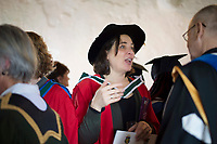 18/04/2017 REPRO FREE:  <br /> PHD graduate  Elizabeth Matthews   at the 13th conferring ceremony, held in the Minstrels gallery the 16th century Newtown Castle at the heart of the BCA campus, exemplifies the continued success of the Burren&rsquo;s  alternative model of art education . <br /> The Irish and  international graduates included Elizabeth Matthews, conferred with  a PhD for her research on Utopian studies , and six international graduates whose work on display in the BCA gallery addressed the ultimate question, &ldquo;who am I called to be&rdquo; In her address President of the college Mary Hawkes Greene referred to the unique place based educational  model  committed to  individual student centred  education accredited by NUIGalway , and how it effectively  embraces the often conflicting forces of the global and the local, the public and the private as well as the collective and the individual. <br /> .  Photo:Andrew Downes, xposure