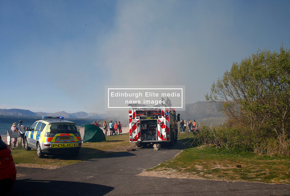 A gorse fire at the popular seaside beach at Ganavan Sands, Oban forced the evacuation of the beach by police officers until the fire was extinguished by Scottish Fire & Rescue Service......... <br /> (c) Stephen Lawson | Edinburgh Elite media