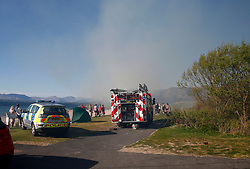 A gorse fire at the popular seaside beach at Ganavan Sands, Oban forced the evacuation of the beach by police officers until the fire was extinguished by Scottish Fire &amp; Rescue Service......... <br /> (c) Stephen Lawson   Edinburgh Elite media