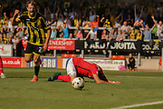 Burton Albion midfielder Callum Reilly celebrates the own goal from Coventry City defender Aaron Martin during the Sky Bet League 1 match between Burton Albion and Coventry City at the Pirelli Stadium, Burton upon Trent, England on 6 September 2015. Photo by Simon Davies.