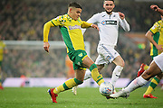Norwich City midfielder Tom Trybull (19) bursting through during the EFL Sky Bet Championship match between Norwich City and Swansea City at Carrow Road, Norwich, England on 8 March 2019.