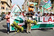 Roma, 22 Giugno 2013<br /> Lavoro &egrave; Democrazia. Manifestazione di CGIL, CISL e UIL. Un manifestante con la maschera di Beppe Grillo <br /> Demonstration by trade unions in Rome